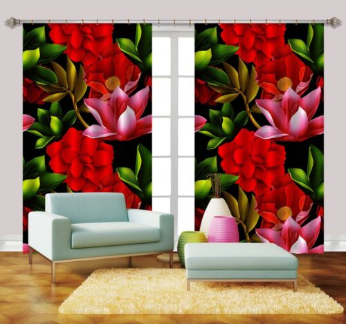3D Red Flowers 578 Blockout Photo Curtain Print Curtains Drapes Fabric Window AU