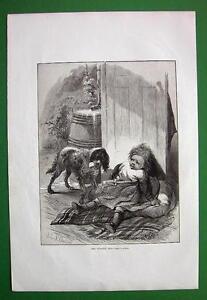 STRANGE-DOG-Little-Girl-Scared-VICTORIAN-Antique-Print-Engraving