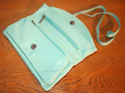 Vera Pelle Tasche, edle Handtasche, Clutch, Leder hellblau, 100 % Original