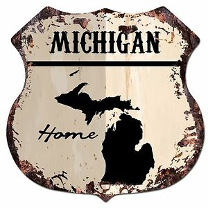 home decor stores in michigan bp0138 home michigan map shield rustic chic sign bar shop 12532