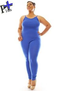 efb68f3cedf Image is loading Plus-Size-Sleeveless-Tank-Jumpsuit-Romper-Catsuit-Blue-
