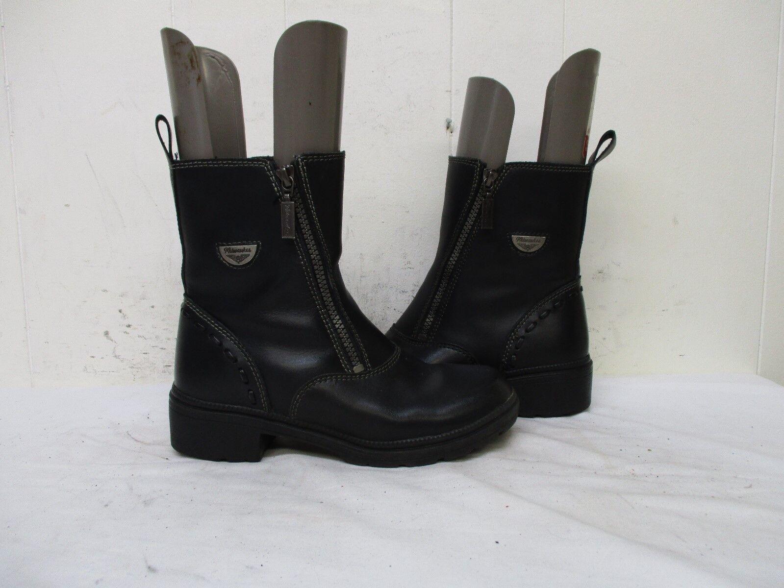 MILWAUKEE Black Leather Double Zip Biker Boots Womens Size 7 B Style MVB206