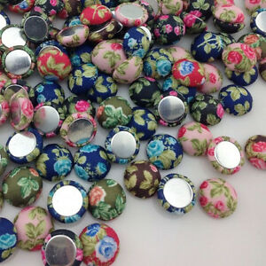 10-50-100pc-Flowers-printing-Fabric-covered-chunky-Round-button-flatback-CT17