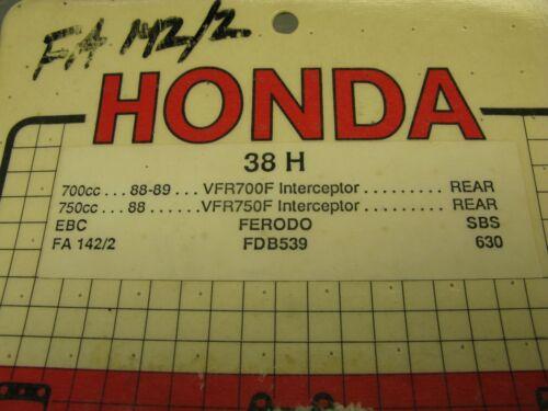 NOS Victor Disc Brake Pads 38H FA142//2 Honda CB250 VT250 VTR250 CB500 ST1100