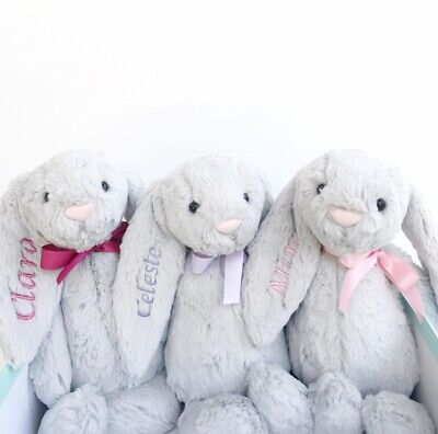 Personalised Baby Long ear Bunny Comforter Blankie soft fluffy Gift toy