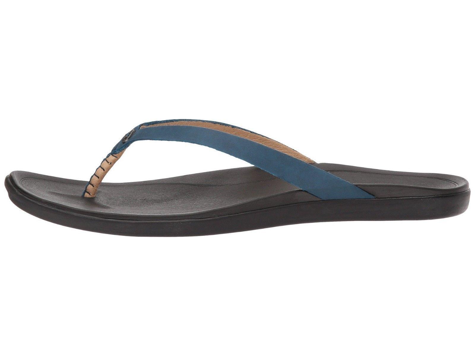 OluKai Ho'opio Leather Legion blu    nero Wouomo Thong Sandals 20290 -LB40  nuovo stile