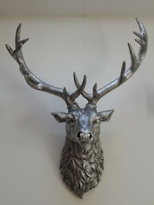 Image Is Loading Large Silver Stag Wall Art Animal Head
