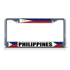 PHILIPPINES FLAG FILIPINO COUNTRY  Chrome Heavy Duty Metal License Plate Frame