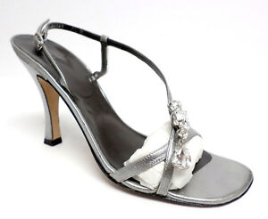 VERA-WANG-Silver-Metallic-Size-7-1-2-Heels-Sandals-or-Shoes-7-5