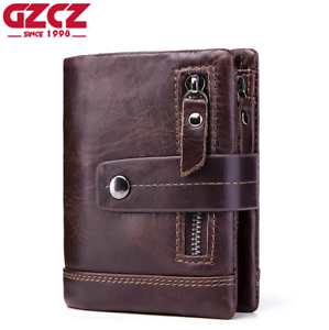 Unisex-Genuine-Leather-Cowhide-Wallet-Trifold-Credit-Card-ID-Holder-Zip-Purse