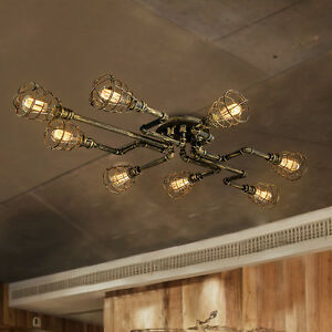 steampunk lighting. Image Is Loading  Industrial-Antique-Metal-Cage-Semi-Flush-Ceiling-Chandelier- Steampunk Lighting T