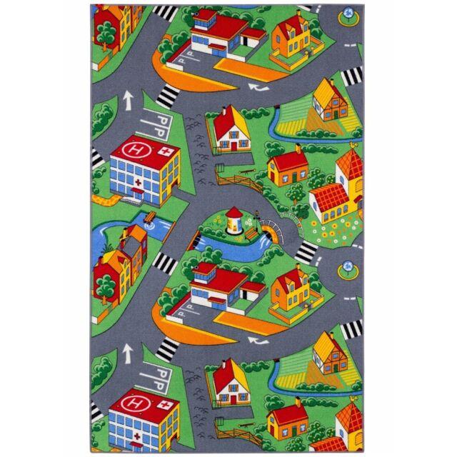 Straßenteppich Little Village Kinderteppich Teppich 140x200 cm bunt