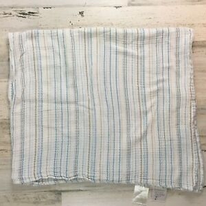 ADEN-ANAIS-Blue-Gray-White-Stripe-Cotton-Muslin-Animal-Baby-Blanket-Swaddle