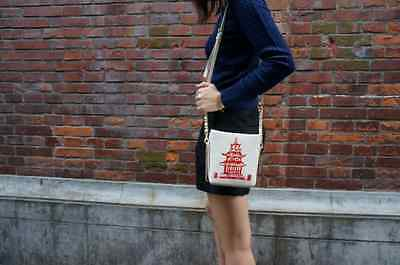 Kate Spade Hello Shanghai Cruz Leather Chinese Take Out Box Clutch Shoulder bag