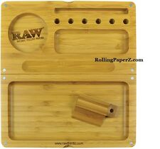 RAW Rolling Papers Wooden Bamboo BACKFLIP Magnetic Rolling Tray Stash Box RYO