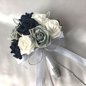 Image Is Loading POSY BOUQUET NAVY BLUE WHITE Amp GREY ROSES