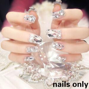 Bride-Glitter-Fake-Nail-Rhinestones-Acrylic-Finished-Nails-Art-Tips-24PCS-Decor
