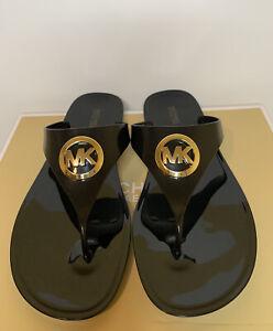 New-Women-s-Michael-Kors-Lillie-Jelly-Thong-PVC-Black-Sandals-Size-10