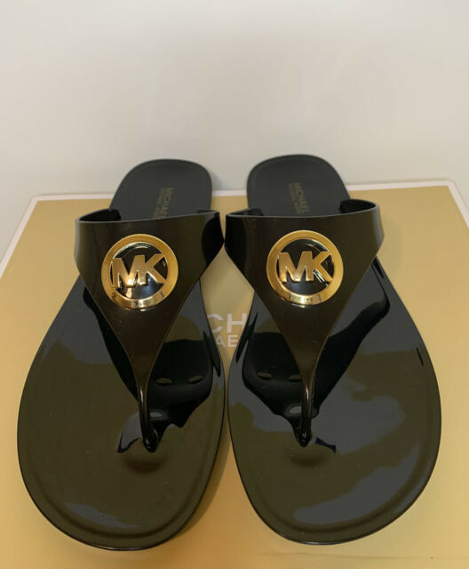 New - Women's Michael Kors Lillie Jelly Thong PVC Black Sandals Size 10