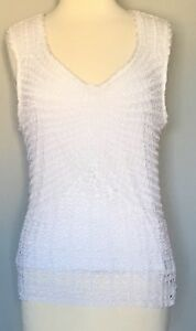 Talbots-Hand-Knit-Sleeveless-Knit-Tank-Top-V-Neck-Lined-Stretch-Ivory-Sz-XL