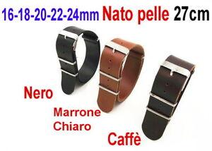 CINTURINO-OROLOGIO-PELLE-PU-NATO-16mm-18mm-20mm-22mm-24mm-Nero-Marrone-scuro