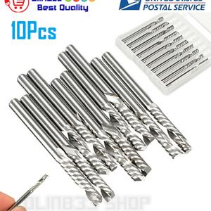 """10pcs 1//8/"""" Carbide Flat Nose End Mill CNC Router Bits 1-Flute Spiral"""