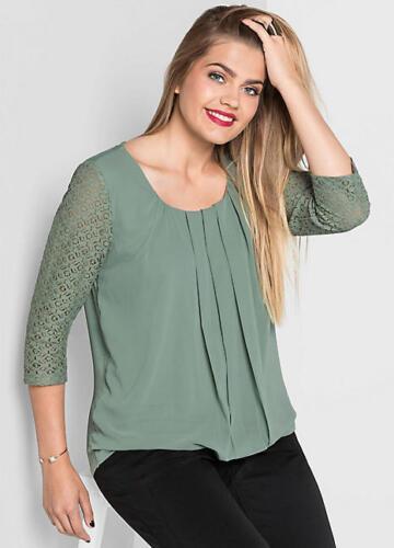 Débardeur Vert Tunique Shirt Dentelle Grande Taille Plus par Sheego 49S245