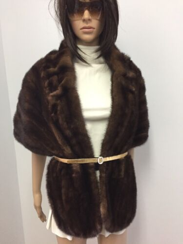 N18 Stole Wrap Mink Brown Collar Cape 34 Genuine Fur nUwPaRqWZ