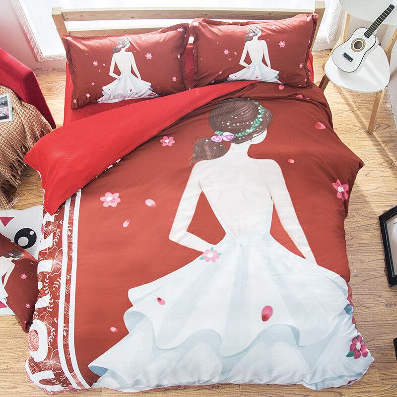 3D Girl Bride 86 Bed Pillowcases Quilt Duvet Cover Set Single Queen UK Kyra