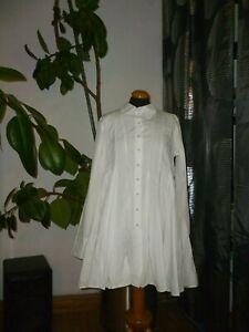 Rundholz-Bluse-Hemd-Longhemd-Tunika-Neu-weiss-Lagenlook-Gr-S-Cotton