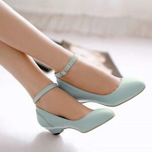 Cute Women s Pumps Ankle StrapCourt Wedge Heel Dating Low Mary Janes ... d90f81100ebe