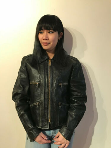 Vintage 1970's Leather Motorcycle Jacket Lesco Wom