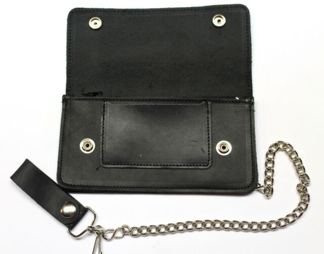 "Trucker Biker Chain Wallet Soft Leather Bifold Black Oil Tanned 7/"" USA Made"