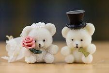 """vintage TINY FLOCKED BRIDE & GROOM TEDDY BEAR miniatures 1"""" tall"""