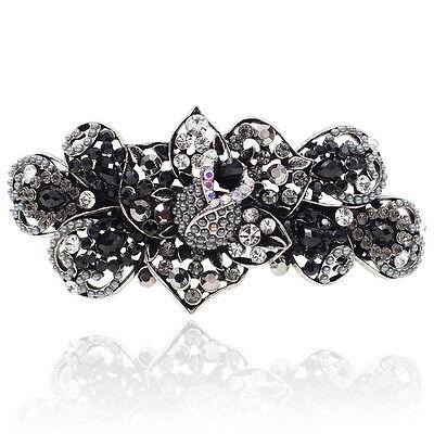 Black Rhinestone Crystal Rosebud Barrette Silver Tone Hair Clip Party Gift