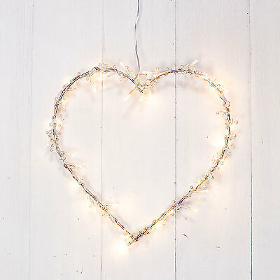 Pearl Heart Shaped Fairy Light Indoor Hanging Wreath With 40 Warm White LEDs