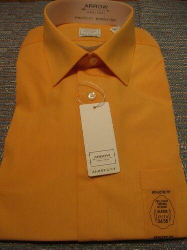 Arrow Athletic Fit Polyester Canela Melon Long Slve Point Dress Shirts SR$40 NEW