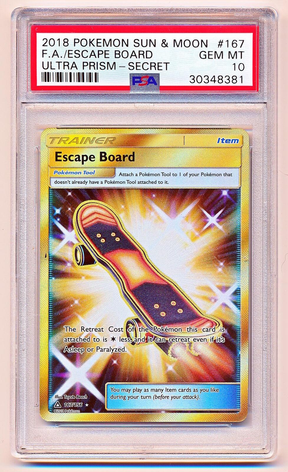 Pokemon Sun & Moon Ultra Prism Prism Prism Escape Board Full Art Secret Rare  156 PSA 10 f00ed7