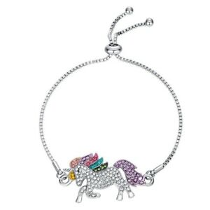 Colors-Horse-Unicorn-Animal-Rhinestone-Chain-Bracelet-Bangle-Women-Jewelry-New