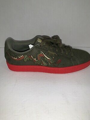 Puma Court Classic Dragon Patch Men/'s Shoes Burnt Olive//High Risk Red 368359-01