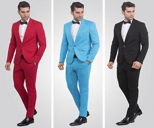 Slim-Fit-Herrenanzug-in-Blau-Rot-Schwarz-Smoking-Anzug-Hochzeit-Buehne-Sakko