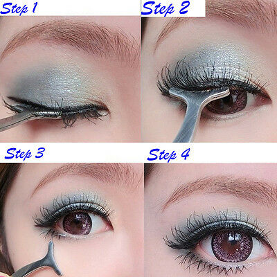 12cm New Sale Auxiliary False Eyelashes Stainless Tweezers Clip Beauty Tools