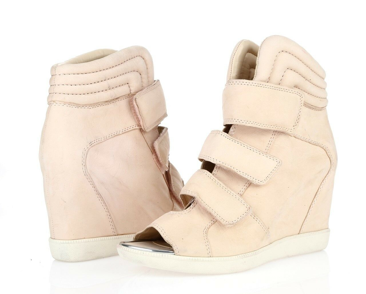 BOUTIQUE 9 BTNERINE peach leather open toe     high top wedges sz. 9.5 M NEW a6321f