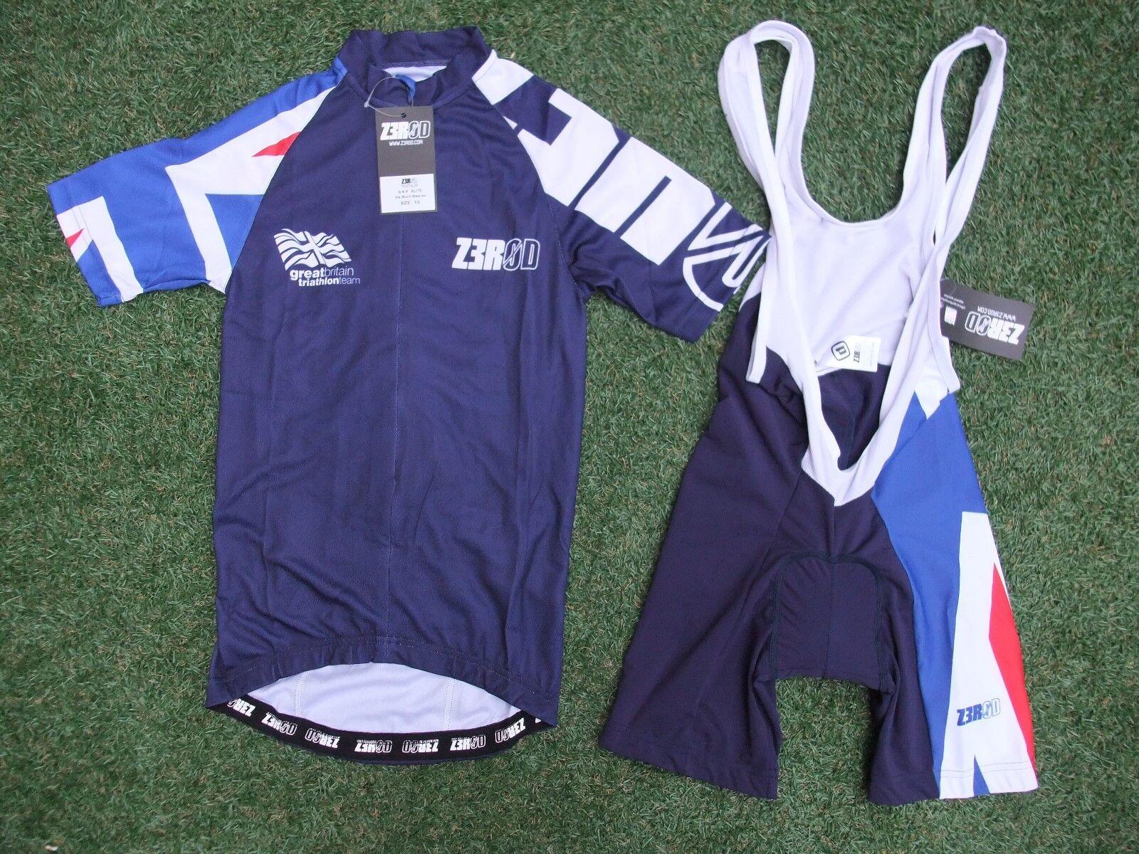 BNWT Z3ROD GBR Age Group British Triathlon Team Cycling Bib Shorts & Jersey  XS