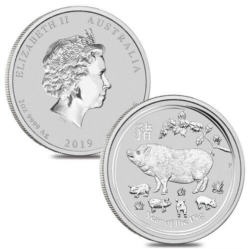 Lot of 2-2019 2 oz Silver Lunar Year of The Pig BU Australian Perth Mint In