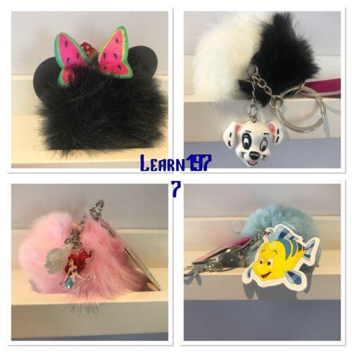 Primark Disney Little Mermaid//Flounder//101 dalmatians//minnie Keyring Pom Pom