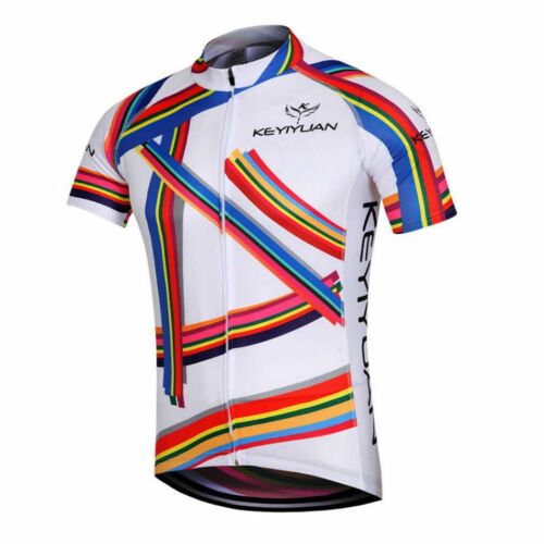 Men's Cycling Jersey Top Bicycle Clothing Bike Cycle Jersey Shirt Color Stripes