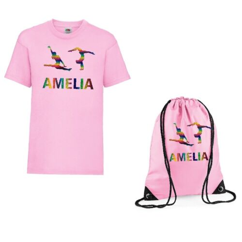 Girls Personalised T Shirt /& Bag Set with 2 Gymnasts /& own name Age 3-13 NEW