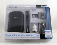 Vivitar Camera Starter Kit 2gb Sd Card Case Mini Tripod Cleaning Kit Protector