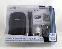Vivitar Camera Starter Kit 2gb Sd Card Case Mini Tripod Cleaning Kit Protector